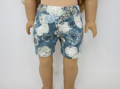Blue flowered pocket shorts by JazzyDollDuds on Etsy. Made following the LJC Jeans Bundle pattern, available at http://www.pixiefaire.com/products/liberty-jane-jeans-bundle-for-ag. #pixiefaire #libertyjane #jeansbundle