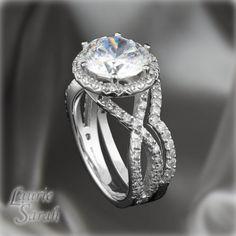 French Pave Diamond Alternative Wedding Set - 18kt White Gold Round Moissanite Engagement Ring with Diamond Contoured Wedding Band  - LS2780 on Etsy, $5,576.85