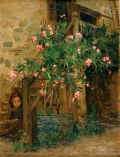 'Jeune fille aux lauriers roses'   by French Painter:  Virginie Demont-Breton  (1859 - 1935)