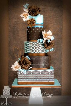 Over the Top Brown and Blue Cake