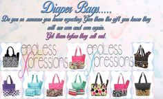 Do you know anyone expecting?  These diaper bags are so cute and would make a nice gift!  They are available online at http://endlessxpressions.com/store/#EndlessXpressionsbykirsten