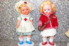 Miss Rosebud dolls wearing Faerie Glen,nurse and schoolgirl outfits   by mc In tosh