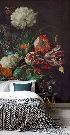 This Dutch master style still life with flowers mural wallpaper accent wall creates instant drama in this modern bedroom. The scale of the floral pattern is what gives the mural a contemporary feel in this design - Unique Bedroom Ideas Decor Art Deco Bedroom, Accent Wall Bedroom, Modern Bedroom, Bedroom Decor, Bedroom Ideas, Master Bedroom, Modern Wall, Dark Bedrooms, Gothic Bedroom