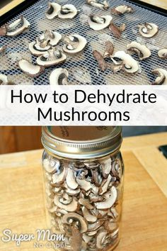 Once you find out how simple it is to dehydrate mushrooms, you'll want to make lots to have on hand to add to a variety of different recipes from pizza toppings to Salisbury steak. Dehydrated Vegetables, Dehydrated Food, Canned Food Storage, Canning Recipes, Canning Tips, Pasta Recipes, Dehydrator Recipes, Preserving Food, Kitchen