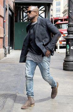 New York, NY - Kanye West heads out to run errands in New York.  Kanye looks cool in sunglasses with a black sports coat and worn blue jeans. AKM-GSI          May 6, 2014 To License These Photos, Please Contact : Steve Ginsburg (310) 505-8447 (323) 423-9397 steve@akmgsi.com sales@akmgsi.com or Maria Buda (917) 242-1505 mbuda@akmgsi.com ginsburgspalyinc@gmail.com