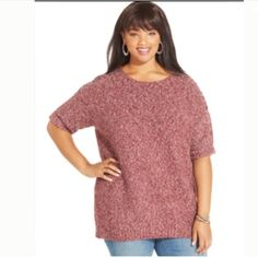 Jessica Simpson sweater Plus size Sherrie shoulder Embellishment sweater size 2X , material : acrylic / polyester / cotton / wool / spandex , red velvet color Jessica Simpson Sweaters