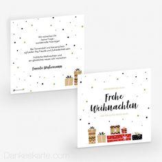 Weihnachtskarte Geschenke 14.5 x 14.5 cm Gold Stars, Glitter Stars, Thanks Card, Xmas Cards, Christmas, Gifts