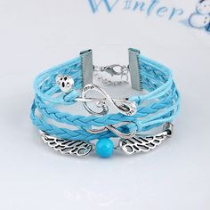 Fancy Pretty Musical Note Wing Alloy Woven Skull Bracelets Wax Cord Bracelets Bangles for Women Jewelry