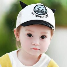 497aa58e131 Cat embroidered baseball cap with ears pink flap hat for baby