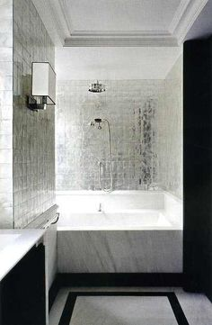 Spectacular Bathroom with Silver Tile and White Carerra Marble. Silver tile for bar area? Bad Inspiration, Bathroom Inspiration, Bathroom Ideas, Master Bathroom, Mirror Bathroom, Silver Bathroom, Modern Bathroom, White Bathroom, Bathroom Marble