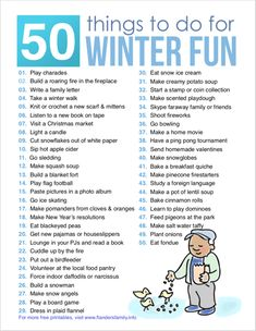 Winter Bucket List (Free Printable) 50 Things to Do for Winter Fun Winter Activities For Kids, Christmas Activities, Family Activities, Indoor Activities, Preschool Activities, Winter Fun, Winter Christmas, Merry Christmas, Bucket List For Teens