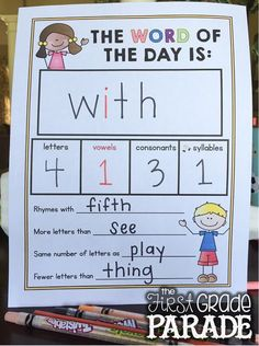I kind of like the idea of kids having a word of the day notebook. I would like to develop something that expands on this idea. I love the top section, but may want to have them write a sentence using the w.o.t.d. Could send it to repro and have it be something that the kids work on daily during Daily 5 time.