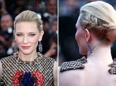 Get the Look: Cate Blanchett's Stunning Braided Chignon via Brit + Co. Bun Hairstyles, Straight Hairstyles, Braided Chignon, Bridal Hair Buns, Cate Blanchett, Get The Look, Updos, Looks Great, Curly Hair Styles