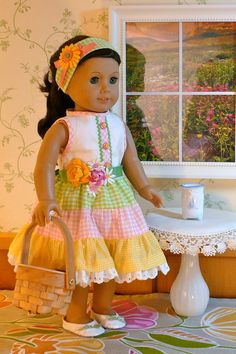 Our American Girl is going out to the sunny, spring garden to look for Easter eggs and maybe pick some flowers for the hall table. She looks