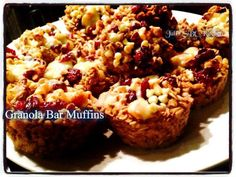 Granola Bar Muffins - Yields 18 muffins Great For On The Go!  Follow my Facebook page which features daily recipes, tips, jokes & more. https://www.facebook.com/heathergetson  Ingredients: 2 eggs 1 teaspoon vanilla extract 2 cups applesauce, unsweetened 1 1/2 bananas, mashed ½ cup honey 5 cups, Old Fashioned regular or gluten free rolled oats ¼ cup flaxseed meal 1 tablespoon ground cinnamon 3 teaspoons baking powder 1 teaspoon salt 2¾ cups milk  Toppings: (optional) ½ cup chopped walnuts ¼…