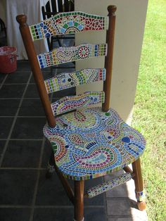 handmade mosic mexican art chair | great garden feature, this chair was created using glass tiles and ...