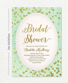 mint and gold glitter bridal shower invitation by hueinvitations