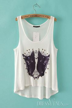 Fashion Sleeveless Round Neck White Sexy Tank Top , Round