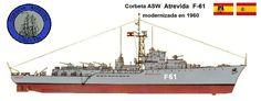 Perfiles navales.Corbeta ASW ATREVIDA F 61 1955.La corbeta Atrevida fue el único de los buques de su clase construido inicialmente según el proyecto original, y posteriormente fue modernizado,