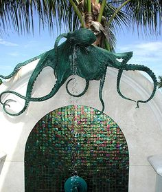 Aloha exterior Octopus Pool Shower - whoa - that just kinda cool :-) Octopus Decor, Octopus Art, Octopus Design, Release The Kraken, Pool Shower, Tentacle, Cthulhu, Bronze Sculpture, Sea Creatures