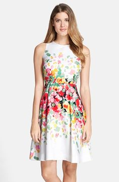Donna Morgan Floral Print Twill Fit & Flare Dress available at #Nordstrom