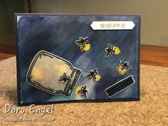 """handmade greeting card from Stamp Trick .... jar card ... freeing the lightning bugs ... luv the gray watercolor sky with yellow embossed """"fire"""" for the fireflies ..."""