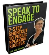 """Yes, you can give engaging presentations -- presentations that compel your audiences to take action, presentations that persuade your audiences to buy, presentations that take your audiences from apathetic to motivated -- and you can do it with ease and with confidence! """"Speak to Engage: 7-Step Shortcut to Public Speaking Success"""" starts April 18! $197 early bird rate expires Tuesday, April 16! http://www.coachlisab.com/speak2engage.html"""