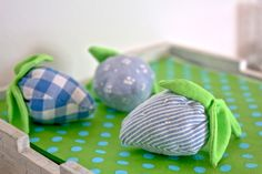 GINGHAM Calico and striped blue strawberries from herzlichst, maaria ♥