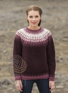 - Icelandic Særós (Rose of the Sea) Women Wool Sweater Purple - Tailor Made - Nordic Store Icelandic Wool Sweaters - 1 Fair Isle Knitting Patterns, Knit Patterns, Icelandic Sweaters, Wool Sweaters, Tejido Fair Isle, Norwegian Knitting, Knitting Wool, Hand Knitting, Wool Yarn