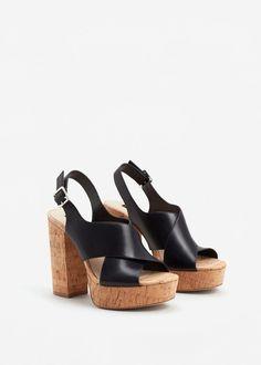 Platform leather sandals   MANGO