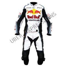 Kawasaki Ninja Redbull Two Piece Motorbike Racing Leather Suit