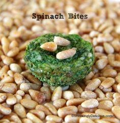 Spinach Bites | Spinach Parmesan Pine Nut Appetizer Recipe | ShockinglyDelicious.com #SundaySupper