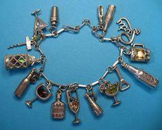 BOOZE Bracelet~ Vintage Sterling Silver Cocktail Charm Bracelet - RARE Crystal Glass Set ~