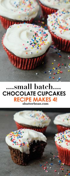 """Small Batch Chocolate Cupcakes with Vanilla Bean Frosting. Recipe makes only 4! Check out more on Shutterbean.com"""