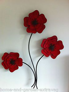 Red Poppies Wall Art | ... -METAL-WALL-ART-RED-POPPIES-POPPY-ROOM-WALL-ART-HOME-FLOWERS-WALL-ART