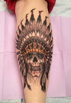 Native American skull headdress tattoo