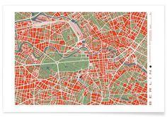 BERLIN classic als Premium Poster von Planos Urbanos   JUNIQE