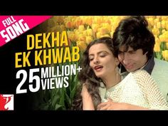 Let your heart sway to its own beautiful music. Express the feeling of love with the melodious track 'Dekha Ek Khwab' from 'Silsila'. Hindi Old Songs, All Songs, Movie Songs, Romantic Love Song, Romantic Songs Video, Kabhi Kabhi Movie, Old Bollywood Songs, Indian Bollywood, Lata Mangeshkar Songs