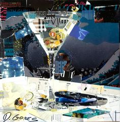 Collage Artwork by Derek Gores. Great guy genuine and pleasant Oh and yes he is very attractive, I have 2 from this series SHOES & DRINKS or is it DRINKS & SHOES ?LOL I have a Martini and a Cosmo. Had a great time seeing his work up close at a showing. As I was looking at my new art hanging with a few more he came up and we both stood there looking over each one together laughing and picking out neat little details in the colored mag paper.