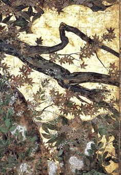 Detail. Maple Tree and Autumn Plants. Fusuma by Hasegawa Tohaku. 1593. Momoyama period. Chisaku temple, Kyoto, JAPAN 日本語: 楓図 障屏画 智積院 京都 長谷川等伯