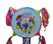 Smurfs Party Pinata by unique. $28.99. Party Pinata. The pinata is an 18 inch round and 4 inches wide  Will hold 6 pounds of candy or small treats  Can be broken by pulling the pull strings or by using a stick  Comes with a sturdy plastic loop for hanging