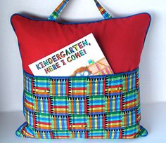 Pocket Pillow Tote for Kids/ 18x18/ Red/ Blue/ Yellow/ Green/ Black/ Cording/ Zipper/ Lined