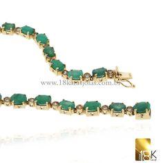 Pulseira em ouro amarelo 18k com diamantes e esmeralda Código: 18KPUOADP0006