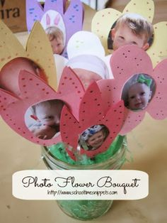 Photo Flower Bouquet -- great keepsake for Mother's Day!