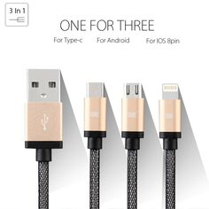 Micro usb + 8pin USB + Type-c 2 in 1 Sync Data Charger Cable For iPhone 5s 6 plus For Samsung S4 S5 S6 Android and Letv 1 Type-c //     Price: US $4.15 & Free Shipping //     Casesaholic.com //     #cellphonecase   #lifestyle