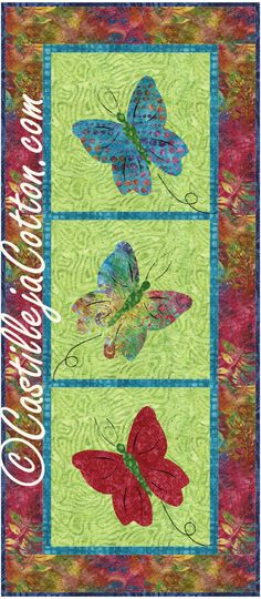 Fusible applique wall hanging or table runner for Spring. Batik Butterflies Quilt Pattern CJC-3840 by Castilleja Cotton - Diane McGregor. Check out our wall hanging patterns. https://www.pinterest.com/quiltwomancom/quilted-wall-hangings/ Subscribe to our mailing list for updates on new patterns and sales! https://visitor.constantcontact.com/manage/optin?v=001nInsvTYVCuDEFMt6NnF5AZm5OdNtzij2ua4k-qgFIzX6B22GyGeBWSrTG2Of_W0RDlB-QaVpNqTrhbz9y39jbLrD2dlEPkoHf_P3E6E5nBNVQNAEUs-xVA%3D%3D