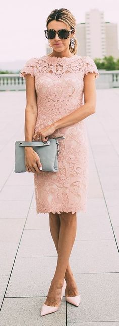 Blush Lace Dress; Grey Clutch, Pink patent Heels, Sunglasses, Earrings || What to Wear to A Wedding Do's and Don'ts || Hello Fashion