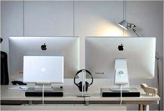Modern workspace :: iMac x 2 MacBook Pro = :-D #macbookprodesksetup #iMacd I - Imac Desktop - Ideas for Imac Desktop #imac #desktop #imacdesktop - Modern workspace :: iMac x 2 MacBook Pro = #macbookprodesksetup #iMacd Imac Desktop Ideas from Imac Desktop #imac #desktop Macbook 15 Inch, Macbook Pro Sale, New Macbook, Macbook Air Stickers, Macbook Pro Accessories, Thunderbolt Display, Mac Notebook, Desktop, Macbook Pro Unibody