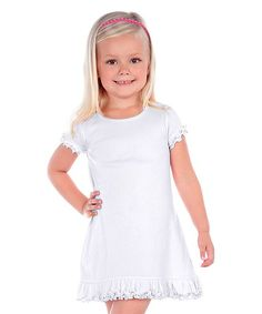 White Ruffle-Hem Shift Dress - Toddler & Girls