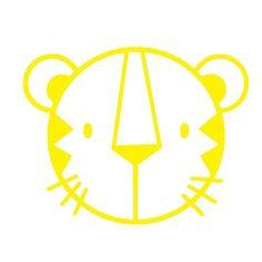 Tigerkopf, gelb, Velours-Motiv zum Aufbügeln